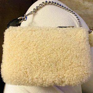 Coach Nolita Wristlet White Shearling Wool Clutch